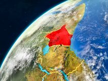 Kenya on Earth with borders. Kenya on realistic model of planet Earth with country borders and very detailed planet surface and clouds. 3D illustration. Elements stock image