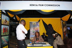 Kenya Film Commission in Exhibtion Nairobi Kenya. An exhibition stand by Kenya film Festival in Nairobi Kenya at KICC Stock Photo