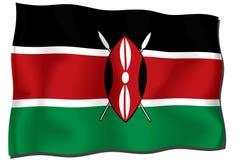 Kenya Flag. Flag of Kenya waving in the wind royalty free illustration