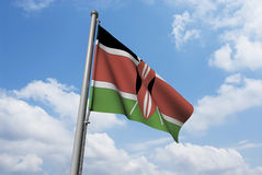Kenya Flag with Clouds Royalty Free Stock Photo
