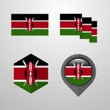 Kenya flag design set vector. This Vector EPS 10 illustration is best for print media, web design, application design user interface and infographics with vector illustration