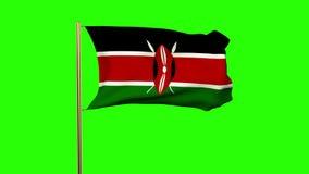 Kenya flag waving in the wind  Green screen, alpha