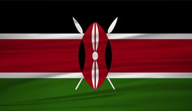 Kenya flaggavektor Vektorflagga av Kenya blowig i vinden vektor illustrationer