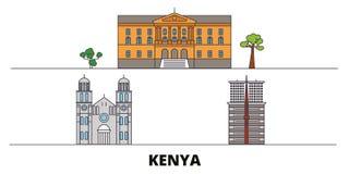 Kenya flat landmarks vector illustration. Kenya line city with famous travel sights, skyline, design. Kenya flat landmarks vector illustration. Kenya line city vector illustration