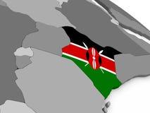 Kenya on globe with flag Royalty Free Stock Photo