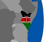 Kenya on globe with flag Stock Photo