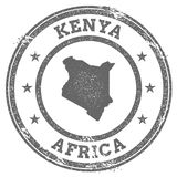 Kenya grunge rubber stamp map and text. Stock Image