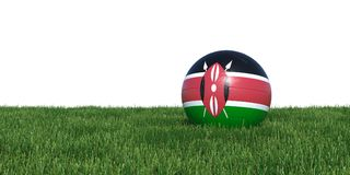 Kenya Kenyan flag soccer ball lying in grass world cup 2018. Isolated on white background. 3D Rendering, Illustration Royalty Free Stock Photo