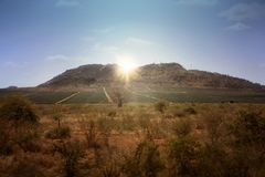 Kenya landscape wtih sunrise. Kenya landscape with mountains and sunrice Royalty Free Stock Image