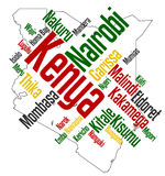 Kenya map and cities. Map of Kenya and text design with major cities Stock Image