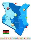 Kenya - map and flag - Detailed Vector Illustration Royalty Free Illustration