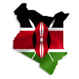Kenya map with flag Stock Image