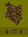 Kenya map made of roasted coffee beans. Vector illustration. Map of Kenya made out of coffee beans. Raw green coffee beans background. Coffee beans flyer or Stock Illustration