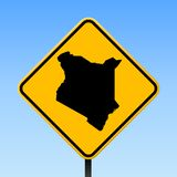 Kenya map on road sign. Square poster with Kenya country map on yellow rhomb road sign. Vector illustration royalty free illustration