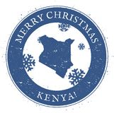 Kenya map. Vintage Merry Christmas Kenya Stamp. Stylised rubber stamp with county map and Merry Christmas text, vector illustration Royalty Free Stock Image