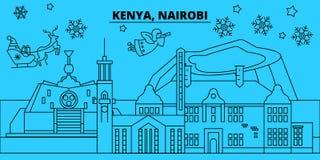 Kenya Nairobi övervintrar feriehorisont Glad jul, det lyckliga nya året dekorerade banret med Santa Claus Lägenhet översikt royaltyfri illustrationer