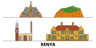 Kenya, Nairobi flat landmarks vector illustration. Kenya, Nairobi line city with famous travel sights, skyline, design. Kenya, Nairobi flat landmarks vector vector illustration