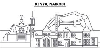 Kenya Nairobi linje horisontvektorillustration Kenya Nairobi siktar linjär cityscape med berömda gränsmärken, stad stock illustrationer