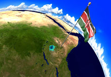 Kenya national flag marking the country location on world map. 3D rendering, parts of this image furnished by NASA Royalty Free Stock Photography