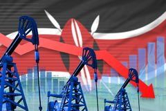 Lowering, falling graph on Kenya flag background - industrial illustration of Kenya oil industry or market concept. 3D. Kenya oil industry concept, industrial stock illustration