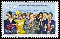 Kenya Olympic Games Team, XI Commonwealth Games serie, circa 1978. MOSCOW, RUSSIA - MARCH 30, 2019: A stamp printed in Kenya shows Kenya Olympic Games Team, XI stock image