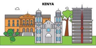 Kenya outline city skyline, linear illustration, banner, travel landmark. Kenya outline city skyline, linear illustration, line banner, travel landmark Royalty Free Stock Photos
