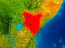 Kenya on physical map Royalty Free Stock Photos