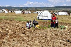 Kenya Red Cross Refugie Camp in Eldoret, Rift Valley, where more. Than 100`000 people are still living in weak conditions Stock Image