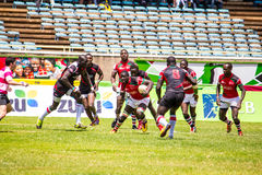 Kenya's Shujaa beats Simba Saba. 17-14 during the Safaricom Sevens Rugby tournament held at the Safaricom Stadium Kasarani on September 28th, 2014 Royalty Free Stock Photography