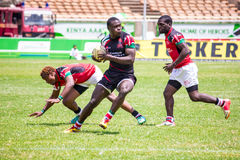 Kenya's Shujaa beats Simba Saba. 17-14 during the Safaricom Sevens Rugby tournament held at the Safaricom Stadium Kasarani on September 28th, 2014 Stock Photography