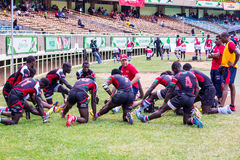 Kenya's Simba Saba Rugby Team. Kenya's Shujaa beats Simba Saba 17-14 during the Safaricom Sevens Rugby tournament held at the Safaricom Stadium Kasarani on Stock Photos