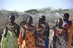 Kenya: Samburu-Village-women with beautifull neckless beatwork stock image