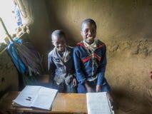 Kenya schoolchildren. RONGO, KENYA - FEBRUARY 19, 2014: Unidentified children at elementary school in Rongo, Kenya. Since 2003 education in public schools in stock photos