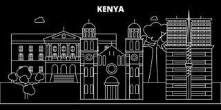 Kenya silhouette skyline, vector city, kenyan linear architecture, buildings. Kenya travel illustration, outline. Kenya silhouette skyline, vector city, kenyan Royalty Free Stock Photos
