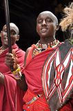 Kenya: Masai men with speer at Diani Reef Resort entrance stock photography