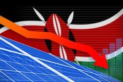 Kenya solar energy power lowering chart, arrow down - green natural energy industrial illustration. 3D Illustration. Kenya solar energy power lowering chart stock illustration