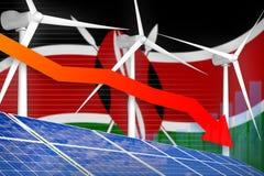 Kenya solar and wind energy lowering chart, arrow down - green natural energy industrial illustration. 3D Illustration. Kenya solar and wind energy lowering stock illustration