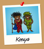 Kenya travel polaroid people. Kenyan man and woman cartoon couple in vintage instant photo frame. Vector illustration layered for easy editing Royalty Free Stock Photography