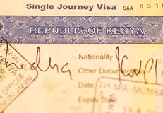 Kenya visa Royalty Free Stock Photography