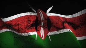 Kenya grunge dirty flag waving on wind. Kenyan background fullscreen grease flag blowing on wind. Realistic filth fabric texture on windy day Stock Images