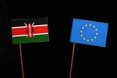 Kenyan flag with European Union EU flag isolated on black. Background Stock Image