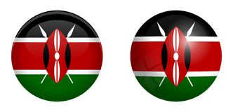 Kenyan flag under 3d dome button and on glossy sphere / ball.  vector illustration