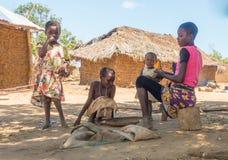 Kenyan Giriama tribe children at their home Royalty Free Stock Image