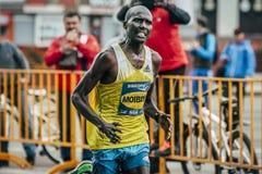 Kenyan Laban Kipkemoi Moiben winner. Omsk, Russia -  September 20, 2015: Kenyan Laban Kipkemoi Moiben, winner Siberian international marathon Stock Photos