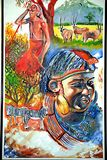 Kenyan maasai life painting Stock Images