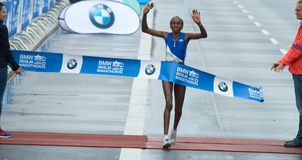 Kenyan Marathon Runner Gladys Cherono on the finish line Royalty Free Stock Photography