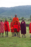 Kenyan masai jumping Royalty Free Stock Photography