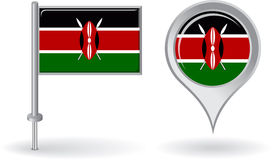 Kenyan pin icon and map pointer flag. Vector Stock Photo