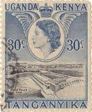 Kenyan postage stamp `Tanganyika`. Uganda. Old kenyan postage stamp `Tanganyika Royalty Free Stock Photography
