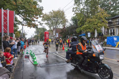 The Kenyan runner Philemon Rono and the Ethiopian runner Seboka Dibaba run past the 33 km turnaround. The Kenyan runner Philemon Rono (on the right) and the stock photos